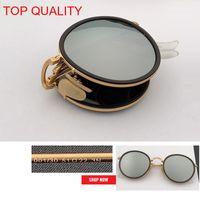 eski metal yuvarlak çerçeve gözlük toptan satış-2019 toptan en kaliteli Yeni Moda Vintage Yuvarlak Katlanır flaş Güneş Metal Çerçeve Kadınlar Retro pembe rd3517 daire gafas Güneş gözlükleri