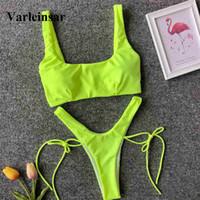 ingrosso nuovo neon bikini-NOVITÀ Costume da bagno donna infradito al neon verde con gamba alta 2019 Costume da bagno donna bikini a due pezzi infradito Costume da bagno V1302