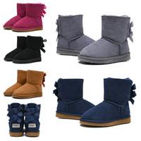 bota moda crianças venda por atacado-boots 2020 moda australiano clássico crianças botas designer botas de neve para crianças menina menino tornozelo bailey bowknot botas de inverno botas de pele 26-35