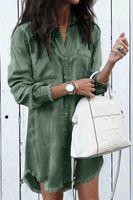 knielänge eng anliegende kleider großhandel-Sommer sexy langärmelige Strickjacke Schlanke Frauen Retro loses Hemd Denim langes Kleid Temperament Damen Einreiher einfarbiges Hemd