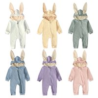 orejeras de conejo al por mayor-Conejo de dibujos animados bebé con capucha mamelucos 6 diseños del oído del conejito de las muchachas de mono del algodón de manga larga Otoño Invierno Playsuit 0-24 M 04
