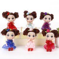 niño vestido de princesa al por mayor-12CM de la muñeca de los niños Juguetes de bricolaje vestido encima de las muñecas del juguete precioso princesa muñeca suave interactivo bebé de la manera mini para los niños y niñas juguetes rellenos de cumpleaños