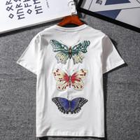 3f39da12 Mens Designer T Shirts 19ss GUCC Brand Summer T Shirt Print Butterfly  Dragonfly Pattern Shirts Mens Designer Jackets