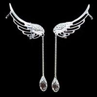 новая манжета уха моды оптовых-Zerotime #P8 2019 NEW FASHION Charm Elegant Angel Wing Crystal Earrings Drop Dangle Ear Cuff Clip Minimalist style Free Shipping