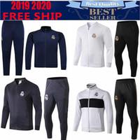Wholesale white blue full suits for sale - Group buy 2019 HAZARD Real Madrid Soccer Jeresy tracksuit JOVIC Modric Isco Benzema Neymar jr Kroos de futebol traning suit Sergio Ramos MARCELO