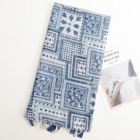 Wholesale printed pashmina shawl tassels resale online - New Bohemian Geometric Box Tiling Tassel Scarf Spring and Summer Thin Travel Sunscreen Shawl Decorative Scarf