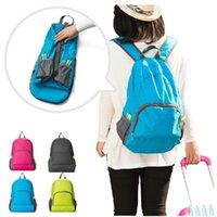 Wholesale nylon folding backpacks resale online - Outdoor Travel Portable Bags Folding Waterproof Backpack Sport Bag Riding Storage Backpack Camping Rucksack Colors LJJZ522