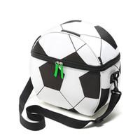 fußball lunchbox großhandel-Oxford Fußball Thermo Picknicktasche Tragbare Isolierte Lunchbox Fußball Druck Taschen Kühler Isotherme Taschen Außentaschen CCA11861 35 stücke