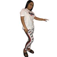 Wholesale clubwear pants sets online - Women F Letters Solid Color Tracksuit Short Sleeve Tshirts Top Pants Leggings sets Casual Outfits Jogging Suits Fashion Clubwear C442