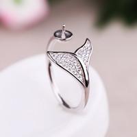 ingrosso set di anelli di perline-Anello di fidanzamento di donne in argento sterling 925 CZ 6-11mm perlina rotonda o perla montatura semi montata Impostazione all'ingrosso