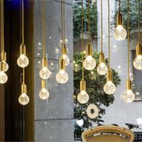 bakır tavan pandantif ışık toptan satış-MINI Kolye Işıkları Bakır Cam nordic basit Modern Kolye Tavan Lambaları 1 Işık Asılı Fikstür Hanglamp