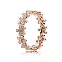 роза цветок кольцо поле оптовых-18 К Розовое Золото CZ Diamond RING Set Оригинальная Коробка для Pandora Real 925 Серебряные цветы Мода Роскошное Обручальное Кольцо Для Женщин