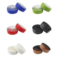 Wholesale leather belt plug online - Bike Cycling Bicycle Road Bike Sports Anti slip Sweat absorbent Handlebar Tape PU Leather Wrap Bar Plug Cycling Handle Belt
