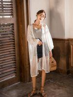 девушки длинный рукав кардиган белый оптовых-2019 весной и летом Женская White Lace Outwear с печати и полые из Solid полиэстер Длинные рукава девушки Кардиган
