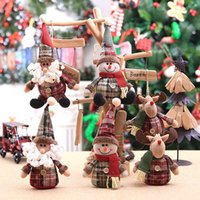 Wholesale doll s for sale - Group buy DHL Christmas Tree Hanging Pendant Ornament Cartoon Doll Snowflake Plaid Doll Christmas Tree s Decoration Xmas Ornaments Gift HH9