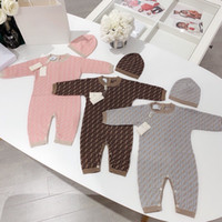 örme bebek çocuk giysileri toptan satış-Yeni Doğan bebek kız ve erkek giysi tasarımcısı Çift örgü jakarlı Giysiler Erkek Tulum Çocuk Kostüm Kız Bebek Tulum için şapka ile battaniye
