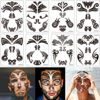 Wholesale temporary lip transfer sticker tattoos for sale - Group buy Maori Face Tattoo Sticker Black Drawing Design Traditional Waterproof Temporary Body Transfer Tattoo Musical Dance Celebrate Party Art Decal