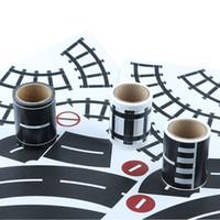 Wholesale paper tracks online - 1PC Railway Road Track Scene Tape Wide Creative Traffic Road Adhesive Masking Paper Tape Kids Toy Car DIY Design Sticker