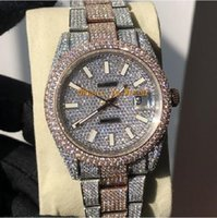ingrosso set di orologi di diamanti-Pieno Diamond Watch Orologio di lusso fuori ghiacciato Guarda ETA2824 automatico 41MM Uomini d'argento in oro rosa Two Tone impermeabile 904L Acciaio Set Diamante CZ