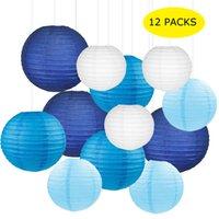 sortiertes licht großhandel-12 Teile / satz 6-12 zoll Weiß Blau und Hellblau Chinesisches Papier Lampion Laternen Verschiedene Größen für Hochzeit Hängen Dekor Favor