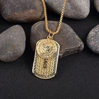 encantos do ouro para colares venda por atacado-Famosa marca hiphop estilo banhado a ouro medusa charme colar de jóias de hip hop banhado a ouro das mulheres dos homens hip hop dog tag colar de pingente de medusa