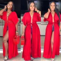 derin v hırka toptan satış-Yaz Dantel Bandaj Maxi Elbiseler Kadınlar Seksi Dantel Boru Kısa Batwing Kollu Derin V İpli Bel Hırka Ayak Bileği Uzunluğu Elbiseler Yeşil Kırmızı