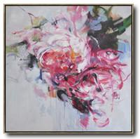 peinture murale fleur rouge achat en gros de-Art moderne de mur rouge et blanc de fleur peignant la peinture à l'huile abstraite bleue énorme siz