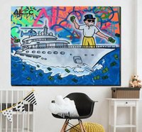 Wholesale painting money resale online - Alec Monopoly Money Yacht Graffiti Art Home Decor Handcrafts HD Print Oil Painting On Canvas Wall Art Canvas Pictures