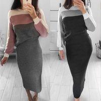 uzun kollu elbiseli iki renk toptan satış-Kontrast Renkler Kadınlar Iki parçalı Takım Elbise Kılıf Uzun Kollu Kazak Elbise Bodycon Kalem Elbise Üst + Etek Seti Kadın Rahat Vestidos FS5309