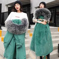 kürk mantolar xxl toptan satış-Kadınlar beyaz kürk kış faux fur ceket kalınlaşma sıcak giyim palto bayanlar kar uzun ceketler artı boyutu M-XXL tops giymek