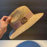 hochwertige strohhüte großhandel-2019 luxus designer strohmützen damenmode cappelli firmati neue hochwertige damen sonnenhut g-001