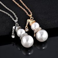 Wholesale american christmas snowmen resale online - Cute Snowman Pendant Long Necklace For Women Gold Silver Color Simulated Pearl Jewelry Santa Claus Christmas Gifts
