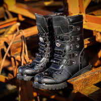 Wholesale gothic motorcycle for sale - Group buy Army Boots Men Boots Leather Winter Black cowboy snow Metal Gothic Punk Male Shoes Motorcycle Martin