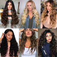 Wholesale wavy wig long curly hair for sale - Group buy Fashion Women Cool Long Full Wavy Front Lace Wig Natural Curly Heat Resistant Synthetic Hair Wigs Cosplay