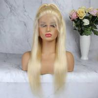 bonés de renda completos para perucas venda por atacado-Perucas cheias do laço do Virgin do cabelo das perucas completas louras do cabelo para as perucas retas de seda do laço do cabelo humano das tampas do meio das mulheres negras