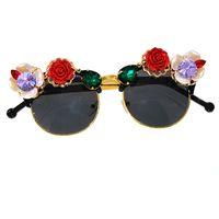 ec92e1e0ce 2019 Moda barroca Popular Mujeres Chicas Flores Gafas de sol Retro Marca  Gafas de sol de cristal Fiesta de playa de verano Gafas de sol