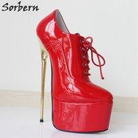 красная кожаная обувь для платформы оптовых-Sorbern Красный лакированная кожа зашнуровать насосы Женская обувь 22 см высокий каблук острым носом толстые платформы Сексуальная фетиш золото металл каблук Обувь