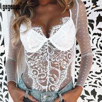 sexy gesamtspielanzug groihandel-Gagaopt Sexy Spitze Stickerei Polka Dot Perspektive Strampler Frauen Overall Sommer Vintage Femme Langarm Body Q190530