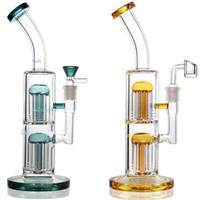 çift filtre cam boru toptan satış-Çift Ağaç Perc Bong Dab Rig Cam Bongs Petrol Kuleleri Su Borusu 12