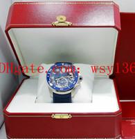 taucher luxus uhr datum großhandel-Luxus Hohe Qualität Calibre De Diver WSCA0011 Blaues Zifferblatt Und Gummi 42mm Automatische Bewegung Uhr MARKE NEUE Herrenuhr Uhren Original Box
