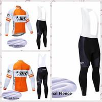 ingrosso maglietta lunga calda a maniche lunghe in ciclismo-BIC team Cycling Winter Thermal Fleece jersey set di pantaloni con bretelle da esterno per uomo maniche lunghe abbigliamento caldo Q82901