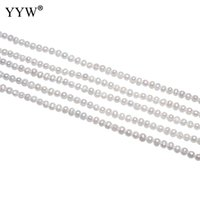 perlas redondas blancas de agua dulce sueltas al por mayor-Granos redondos cultivados de la perla de agua dulce blanco natural 3-4mm 15 inch / Strand Perla floja redonda para el accesorio hecho a mano del regalo de la joyería