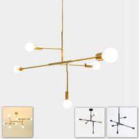Wholesale modern minimalist study room resale online - Simple post modern hanging pendant lamp light LED minimalist black gold bar stair foyer living dining room hanging ceiling lamp
