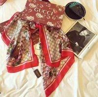 lenço de xale chiffon impresso venda por atacado-De alta qualidade high-end lenço de seda designer de moda senhora primavera e verão novo lenço impresso 180 * 90 cm