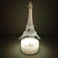 ingrosso 3d torre eiffel led-Eiffel Tower crepa luci RGB LED Base della lampada per 3D Illusion Lampada 4mm acrilico pannello chiaro AA batteria o DC 5V USB 3D luci notturne Creative
