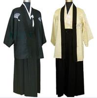 traje uniforme japonês venda por atacado-Mens Roupas Étnicas Quimono Traje Guerreiro Japonês Terno Uniforme Masculino Traje Foto Roupas 2 olors