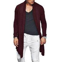 cardigan asimétrico hombres al por mayor-Hombre Otoño Cardigan Casual Asymmetric Color Sólido Abrigo Poncho Abrigo Outwear GDD99
