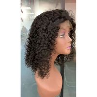pelucas de encaje rizado corto rizado al por mayor-Indian Raw Virgin Hair Lace Front Peluca 13X4 Bob Deep Wave Kinky Curly Bob Lace Front Peluca 8-16inch Virgin Hair Color Natural Bob Corto