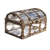 ingrosso scatole di immagazzinamento del petto-Scatola del tesoro Scatola di immagazzinaggio di plastica Cassa del tesoro del pirata Cassa per gemme Collezionismo Gioielli Scatola di caramelle di cristallo