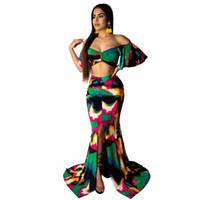 iki bölünmüş etek toptan satış-Yaz Iki Parçalı Kıyafetler Kadınlar Için Giysi Kapalı Omuz Backless Kırpma Üst Ve Yüksek Bölünmüş Uzun Etek Seksi 2 Parça Set Elbise NB-1512